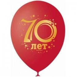 "M 12""/30см Декоратор (шелк) CHERRY RED 2 ст. рис Юбилей цифра 70 10шт шар латекс"
