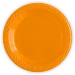 """S Тарелки пластиковые 23 см """"Делюкс"""" Оранжевые / набор 10 шт. / (Колумбия)"""