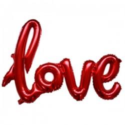 Шар надпись LOVE красный