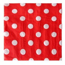 Салфетки красные Белый Горох 12шт
