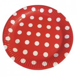 Набор тарелок Красные с белым горошом 23см 6шт