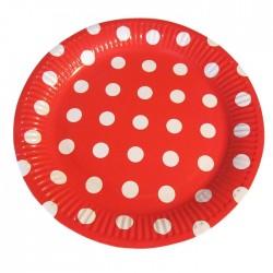 Набор тарелок Белые горошины на красном фоне 18см 6шт