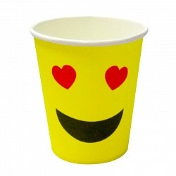 Стаканы Смайл влюбленный, желтый, 180мл, 6шт