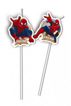"""P Трубочки коктейльные """"Человек-Паук"""" / Ultimate Spiderman Web Warriors / набор 6 шт. / (Китай)"""