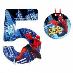 Украшения праздника 5 Цифра Человек-паук 34х24см