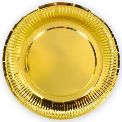 Тарелки однотонные, Золото, 9 дюймов, 6шт