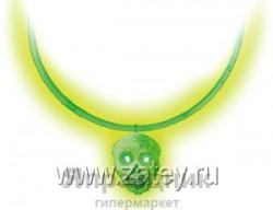 Светящ Ожерелье с кулоном Череп зеленый