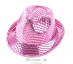 Карнавальная шляпа с блеском розовая 12х25х28см