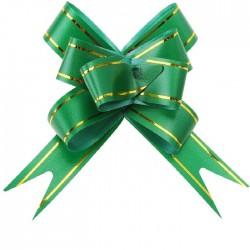 Бант Бабочка с золотой полосой Зеленый (4''/10 см),