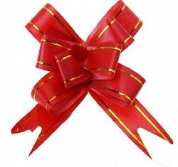 Бант Бабочка с золотой полосой Красный (4''/10 см),