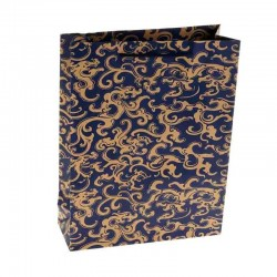 "Пакет крафт ""Ажур"", синий, 23 х 32 х 8,5 см"