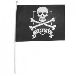 """Флаг пирата """"Пират"""" 30х45 см+ флагшток 1528191"""