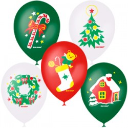 "M 12""/30см Металлик (шелк) 1 ст. 3 цв. рис Новогодние игрушки 25шт шар латекс"