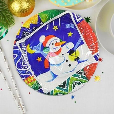 Тарелка бумажная Снеговик 17см бшт