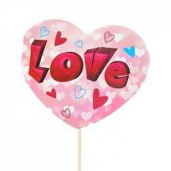 Топпер для торта розовый LOVE сердечки 30см