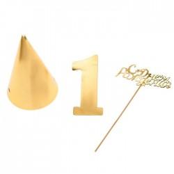 """Набор из золотого картона """"1 год"""", 21 х 25 см"""
