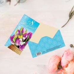 """Конверт для денег """"С 8 марта"""", розовые тюльпаны"""