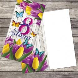 """Открытка поздравительная """"С 8 марта"""", лиловые тюльпаны, 10*21 2771975"""
