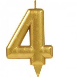 Свеча для торта Цифра 4 золотая