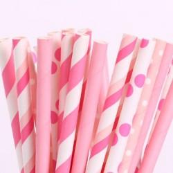 Набор трубочек Ассорти бумажные розовые 20шт