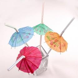 Набор трубочек С зонтиком белые 8шт
