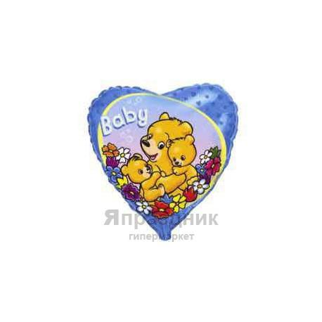 "Шар фольга 18""45см Baby Мишки на голубом"