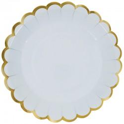 Тарелки с Золотой каймой, Светло-голубой, 7 дюймов, 6шт