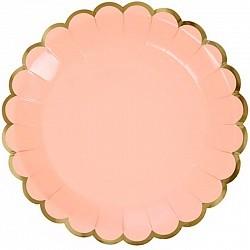 Тарелки с Золотой каймой, Розовый, 9 дюймов, 6шт