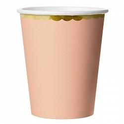Стаканы с Золотой каймой, Розовый, 180мл, 6шт