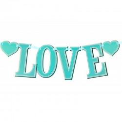 "Фотобутафория на ленте ""LOVE"" (бирюзовая), дл. 85 см"