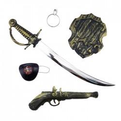"""Игровой набор """"Пират"""" с саблей и щитом (сабля, пистолет, щит, наглазник, серьга) / 6 предметов / (Ки"""