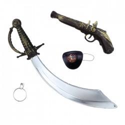 """Игровой набор """"Пират"""" с пистолетом (сабля, пистолет, наглазник, серьга) / 5 предметов / (Китай)"""