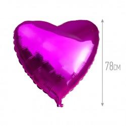 Шар Сердце Лиловый 78см