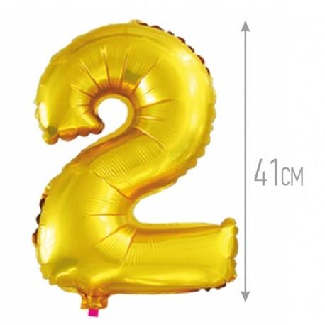 Шар с клапаном (16''/41 см) Цифра, 2, Золото, 1 шт.