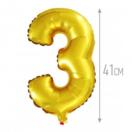 Шар с клапаном (16''/41 см) Цифра, 3, Золото, 1 шт.