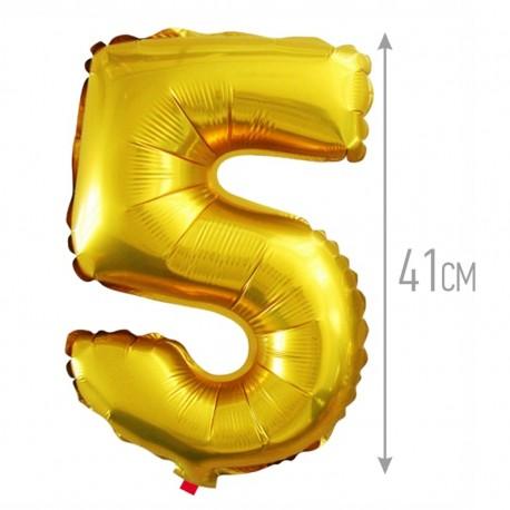 Шар с клапаном (16''/41 см) Цифра, 5, Золото, 1 шт.