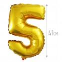 Шар фольгированный Цифра 5 золото 41см