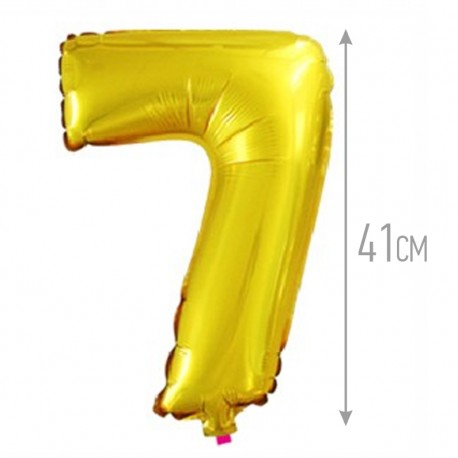 Шар с клапаном (16''/41 см) Цифра, 7, Золото, 1 шт.