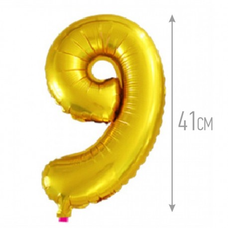 Шар с клапаном (16''/41 см) Цифра, 9, Золото, 1 шт.