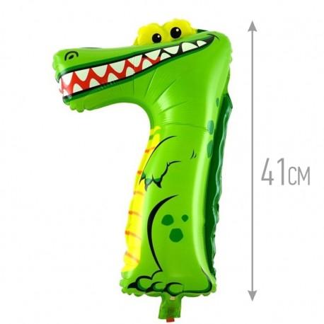 Шар с клапаном (16''/41 см) Цифра, 7 Крокодил, 1 шт.