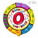 Шар Круг Цифра 0 С днем рождения 48см