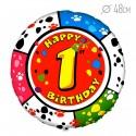 Шар Круг Цифра 1 С днем рождения 48см