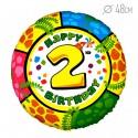 Шар Круг Цифра 2 С днем рождения 48см