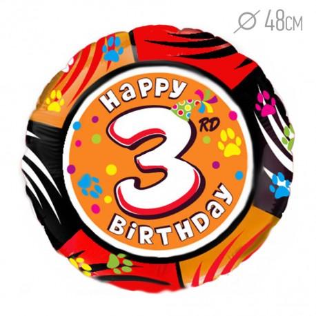 """И 18 Круг Цифра """"3"""" С днем рождения / RD №3 / 1 шт / (Испания)"""