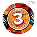 Шар Круг Цифра 3 С днем рождения 48см