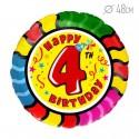 Шар Круг Цифра 4 С днем рождения 48см