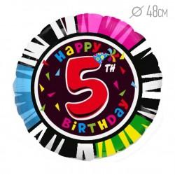 Шар Круг Цифра 5 С днем рождения 48см