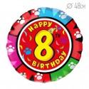 Шар Круг Цифра 8 С днем рождения 48см