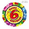 Шар Круг Цифра 6 С днем рождения 48см