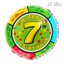 Шар Круг Цифра 7 С днем рождения 48см